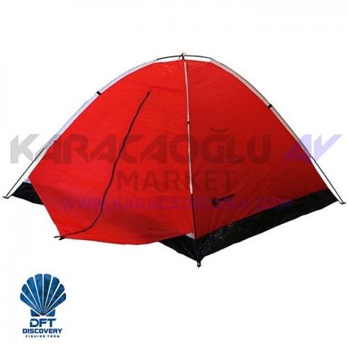 DİSCOVERY 3 Kişi Tek Kat Kırmızı Çadır 220x200+70x130cm